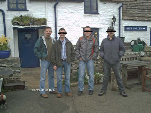 Steve Moore with certain rogues and vagabonds outside a certain Dorset hostelry.