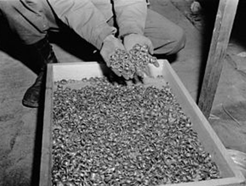 It wasn't just cultural objects the Nazis looted. These rings were taken from Jewish prisoners in Buchenwald Concentration Camp> before being sent to the gas chambers