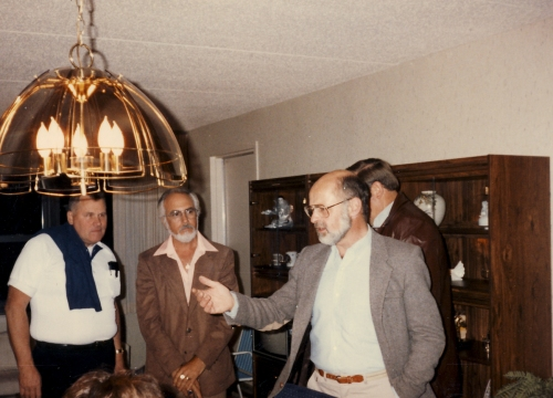 Cliff Steffen, Jimmy Sierra, yours truly and Ed Laub (hidden) party....mid 80's