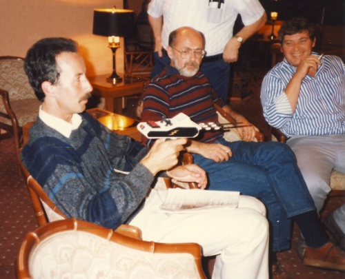 Mick Turrell, yours truly and John Howland, discussing the Electroscope, UK, 1986 (Howland was waiting for the beer model to be released).