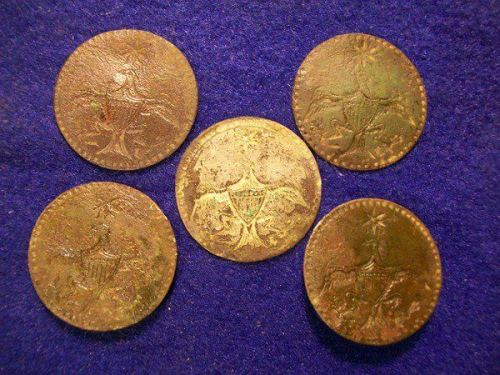 Five George Washington Inaugural Buttons...all found in one outing.