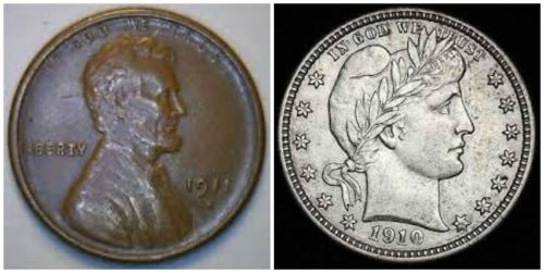 The 1911S Lincoln is valued at $30 in fine condition. The 1910 D Barber Quarter - $70 in fine condition.