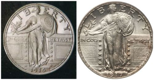 The sexy 1916 Standing Liberty and the more modest 1917