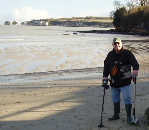 John Howland on a beach near Bournemouth...