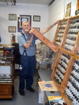 Joe Cook & his spark plug collection
