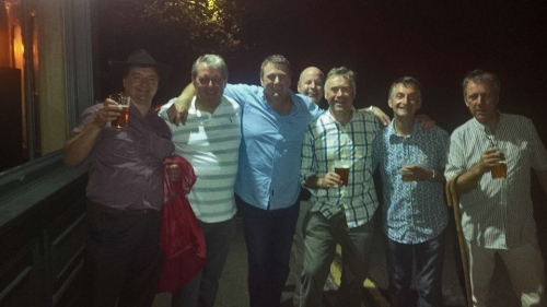 Nigel second from right (the A list was next door swilling Champagne)