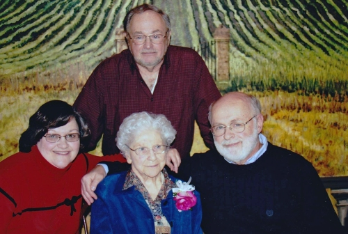 With my sister Debbie, my Mom, and Phil at Mom's 90th birthday.