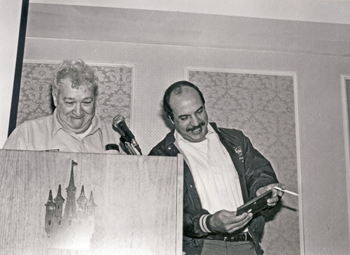 "Harry Bodofsky (first VP of Federation) and a young ""tuck a buck"" Bob Buttafuso. 1985 FMDAC Treasure Weekend..."