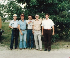 From left; Uncle Willard, Phil's uncle, Phil Caldwell, Paul, Abe Lincoln, Glenn Carson
