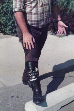 Richard Ray showing off his boot